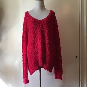 Free people overside pink sweater size:M